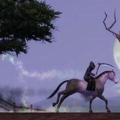 Mroczny Kosiarz na koniu