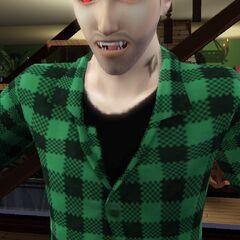 Zbliżenie na zęby wampira.