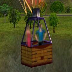 Bella latająca balonem z tajemniczym mężczyzną