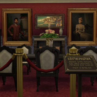 Lord i lady Szczypiorowie na obrazach w swej posiadłości.