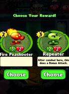 Choice between Fire Peashooter and Repeater