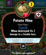 Potato mine stats