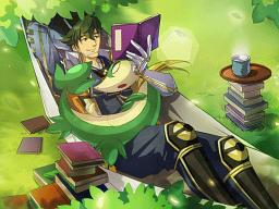 File:Pokemon Conquest -Motonari Reading with Servine.png