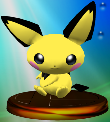 File:Pichu (Smash) trophy SSBM.png