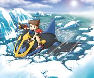 SOA Kellyn riding on Empoleon on Ice Lake