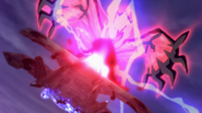 Yveltal Turning Argus' Airship into Stone