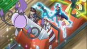 Ash, Cilan and Iris levitated by Chandelure