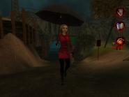 Woman in raincoat with umbrella 002
