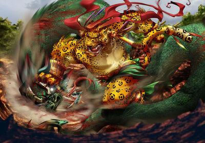 Tezcatlipoca vs Quetzalcoatl by gureiduson
