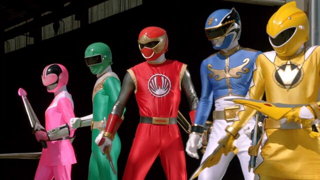 File:Megaforce Blue with Legendary Mode Rangers.jpg