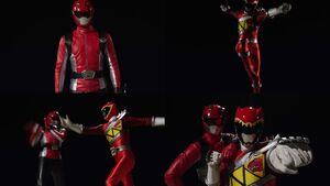Red Senshi Handover- Go-Busters - Kyoryuger