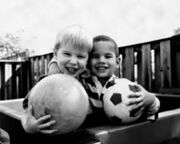 Human eyesight two children and ball normal vision