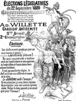 1889 French elections Poster for antisemitic candidate Adolf Willette
