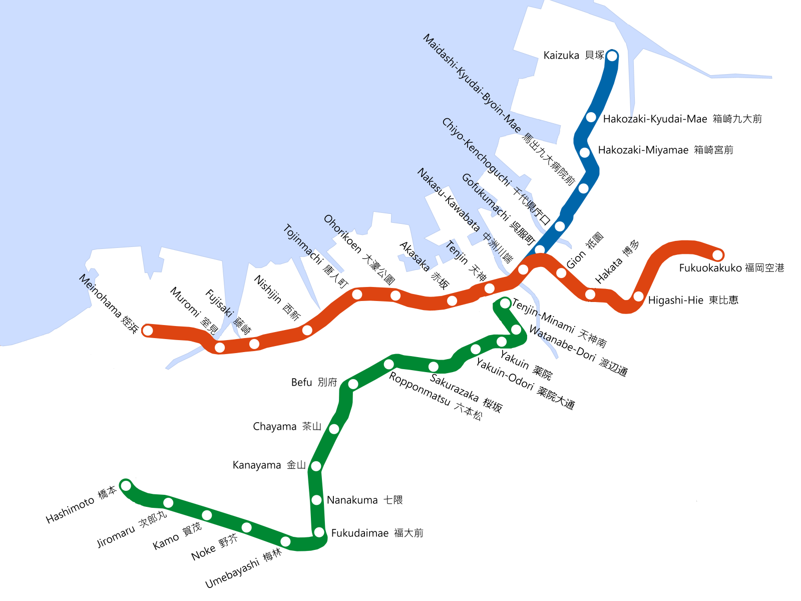 Fukuoka City Subway Map