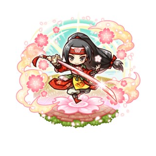 Sumeragi with the title of Sakura Samurai Trader after her awakening to the 18 Demon Warlords in the mobile game