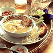Chicken Soup with Potato Patties