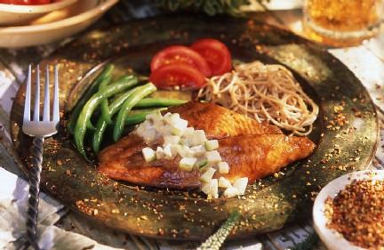 File:Broiled Teriyaki Catfish With Wasabi Cucumber Salad.jpg