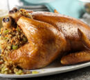 Roast Chicken with Sausage-Apple Stuffing