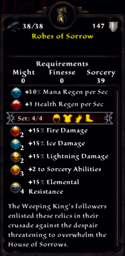 Robes of Sorrow Inventory