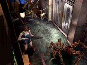 Resident Evil 3 - Jill shooting at Drain Deimos