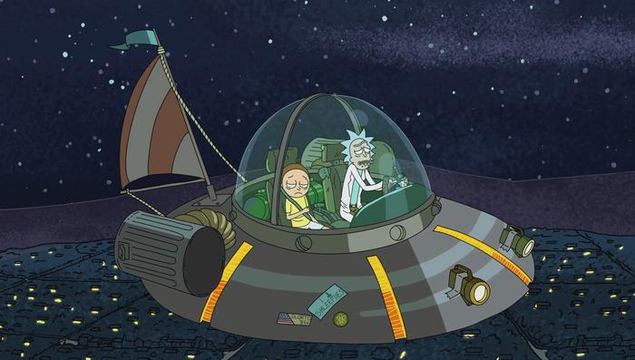 Rick and Morty in the flying wackamadoodle