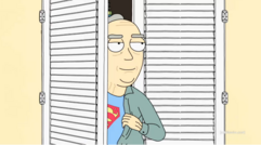 Jerry's dad watching as superman