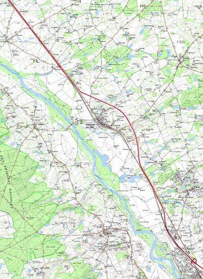 Carte du futur tracé de la RN7 entre Tresnay et Moulins lorsque les travaux de mise à 2x2 voies seront réalisés © Frantz58