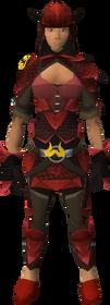 Zamorak dragonhide blessed set equipped (female)