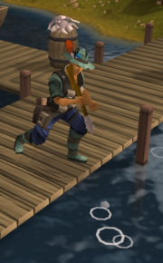 Player fishing harpoon