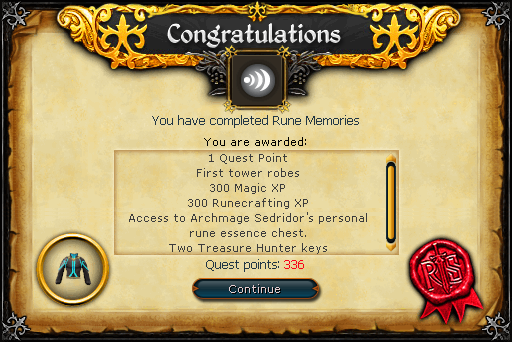 Rune Memories reward