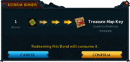 Redeeming a bond for Treasure Map Key confirmation