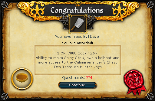 Recipe for Disaster (Freeing Evil Dave) reward