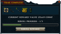 Treasure trail reward interface