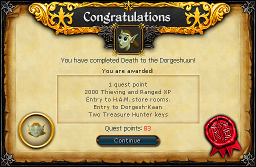 Death to the Dorgeshuun reward