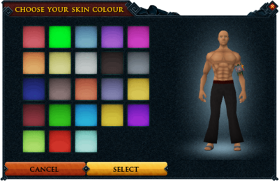 how to change skin color runescape