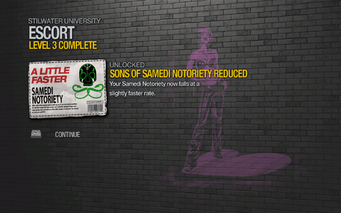 Sons of Samedi Notoriety Reduced unlocked after Escort level 3 in Saints Row 2