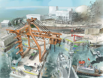 Concept Art of Stilwater Nuclear docks area in Saints Row 2