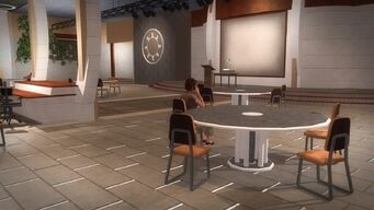 Rounds Square Shopping Center bottom floor conference room round tables