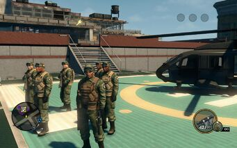 SNG soldiers - 6 on Saints HQ helipad in Saints Row The Third
