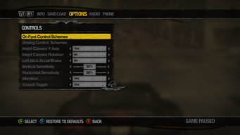 Saints Row 2 Menu - Options - Controls