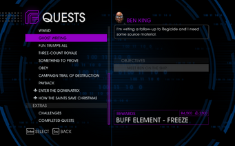 Quests Menu - Ghost Writing