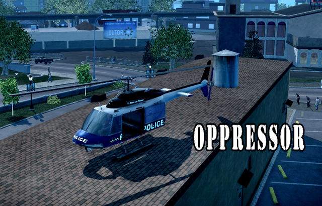 File:Oppressor - Police variant with logo in Saints Row 2 parked on rooftop - front left.png