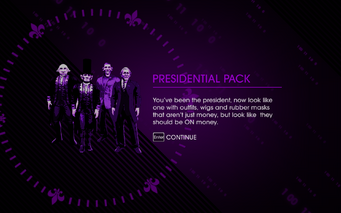 Saints Row IV Presidental Pack unlock screen