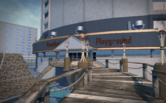 Poseidon's Palace exterior - walkway with view of Poseidon's Playground sign