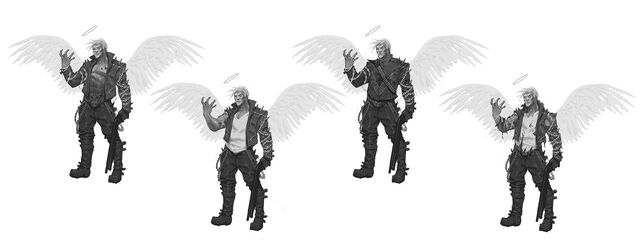 File:Johnny Gat Concept Art - Gat out of Hell Demonic look - four versions with outstretched hand, facing left.jpg