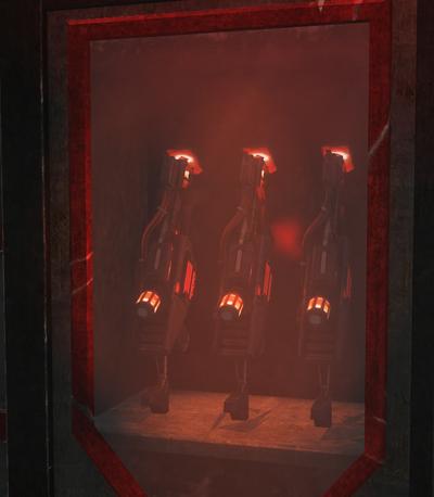 Lava Cannons inside a Sinterpol Armory kiosk