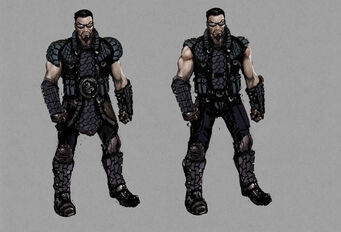 Johnny Gat Concept Art - Gat out of Hell Barbarian look - two dark outfits