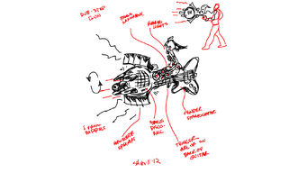 Dubstep Gun Concept Art - rough sketch with labels