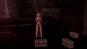 Cemetery Sex Cavern - blow up doll standing and cinderblocks