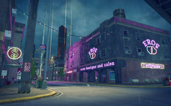 Bavogian Plaza in Saints Row 2 - street at night